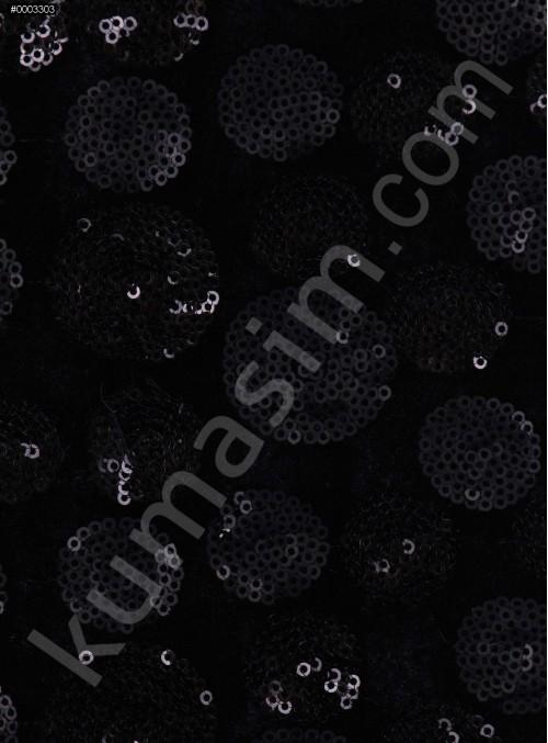 Kadife Üzeri Puantiye Desen Payetli Siyah Kumaş - K9403