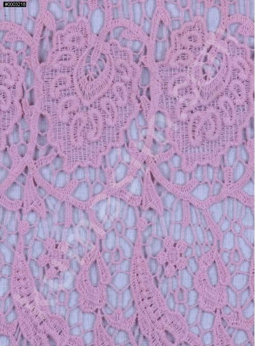 Koton İçerikli Çiçek Desenli Pudra Güpür Kumaş - K9404