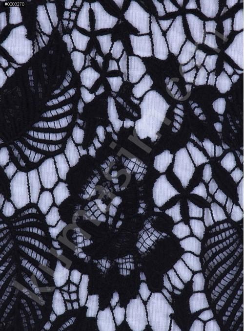Koton İçerikli Çiçek Desenli Siyah Güpür Kumaş - K9405