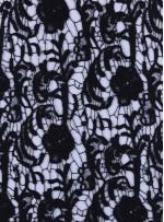 Çiçek Desenli Koton İçerik Siyah Güpür Kumaş - K9406