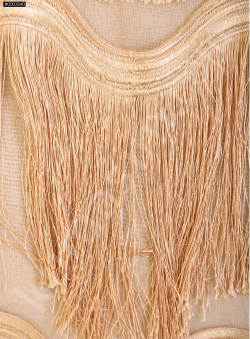 Dalga Desenli Saçaklı Bej Abiyelik Kumaş - K9411