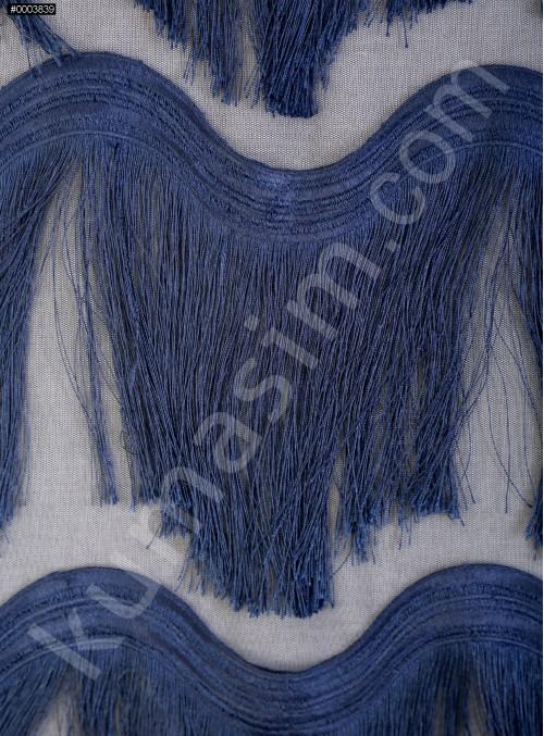 Dalga Desenli Saçaklı Lacivert Abiyelik Kumaş - K9411