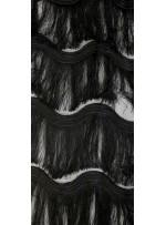 Dalga Desenli Saçaklı Siyah Abiyelik Kumaş - K9411