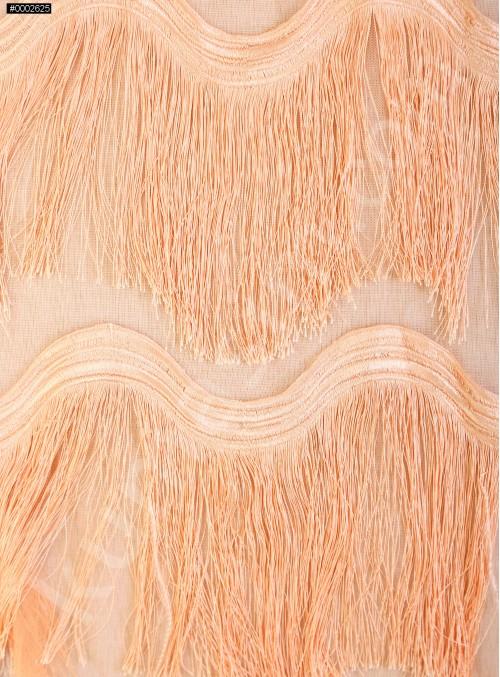 Dalga Desenli Saçaklı Somon Abiyelik Kumaş - K9411