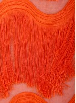 Dalga Desenli Saçaklı Turuncu Abiyelik Kumaş - K9411