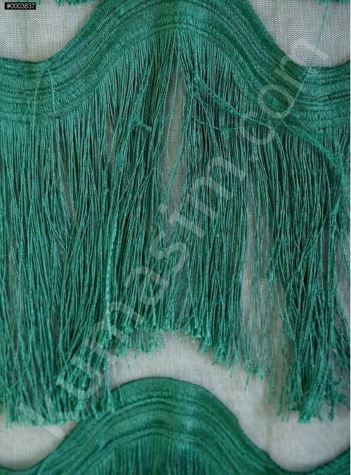 Dalga Desenli Saçaklı Zümrüt Abiyelik Kumaş - K9411