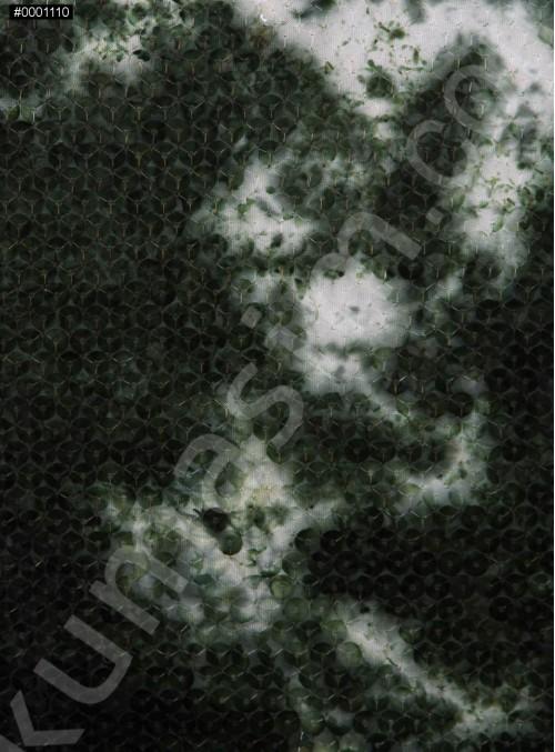 Jarse Üzeri Yeşil Duman Baskılı Şeffaf Payetli Kumaş - K9416