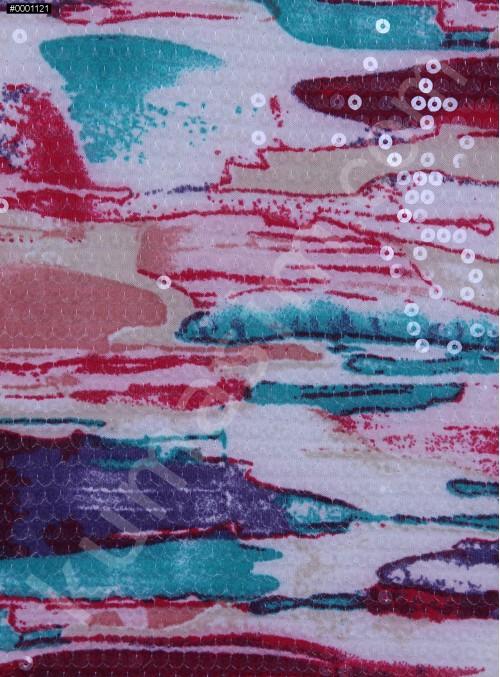 Baskılı Jarse Üzeri Şeffaf Payetli Renkli Kumaş - K9418