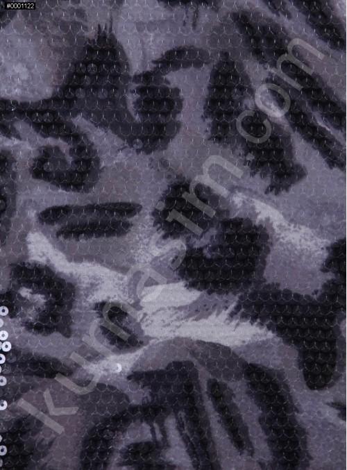 Jarse Üzeri Şeffaf Payetli Empirme Kumaş - K9420
