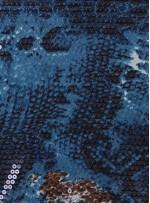 Jarse Üzeri Şeffaf Payetli Yılan Desenli Kumaş - K9421