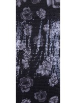 Jarse Üzeri Şeffaf Payetli Çiçek Desenli Kumaş - K9426
