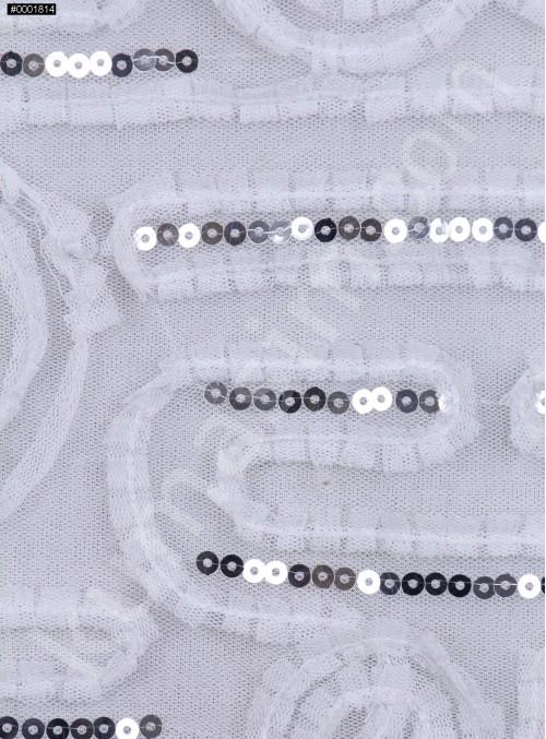 Gül ve Çizgi Desenli Beyaz Payetli Lase Kumaş - K9432