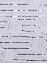 Gül ve Çizgi Desenli Kemik Payetli Lase Kumaş - K9432