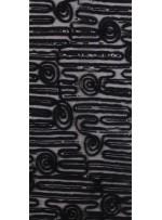 Gül ve Çizgi Desenli Siyah Payetli Lase Kumaş - K9432