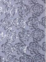 File Üzeri Gül Desenli Gümüş Payetli Kumaş - K9435