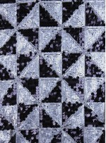 Çift Renkli Üçgen Desenli Siyah Gümüş Payetli Kumaş - K9447