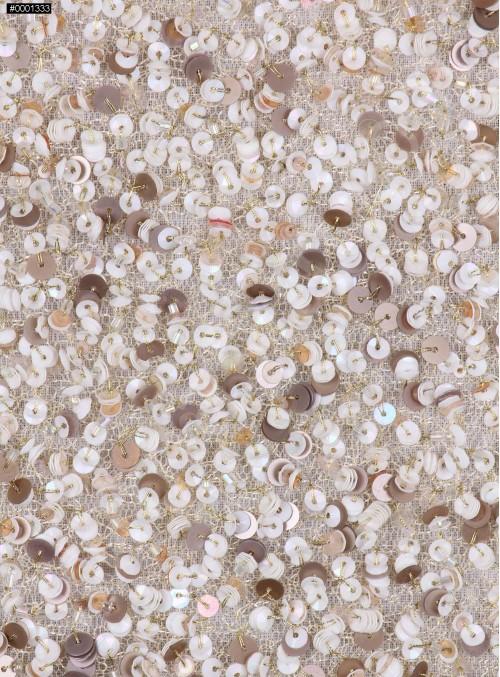 Gelinlik ve Nişanlık Yoğun Payetli Taşlı Gold Kumaş - K9450
