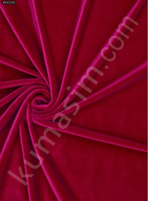 Elbiselik Desensiz - Düz Kışlık Kırmızı Kadife Kumaş - K9452