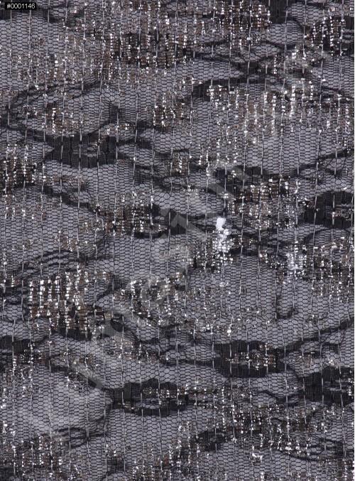 Dantel Üzeri Şeffaf Kare Payetli Gümüş Kumaş - K9455