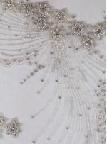Elbise Figürlü Swarovski Taşlı - Payetli ve Boncuklu Beyaz Kupon Elbise - A9461