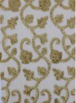 Tül Üzeri Osmanlı Desenli Gold Payet Kumaş - K9465