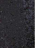 Jarse Üzeri Siyah Deri Payetli Kumaş - K9466