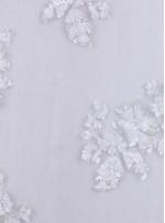 Çiçek Desenli Kemik Payetli Aplike Kumaş - K9467