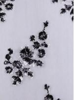Çiçek Desenli Siyah Payetli Aplike Kumaş - K9467