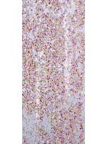 Beyaz Üzeri Renkli Baskılı Payet Kumaş - K9472