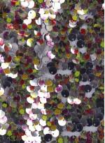 Gümüş Üzeri Renkli Baskılı Payet Kumaş - K9472