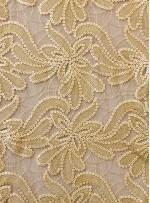 Tül Üzeri Çiçek Desenli Kemik Deri Payetli Kumaş - K9475