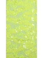Dantel Üzeri Büyük Payetli Sarı Kumaş - K9476