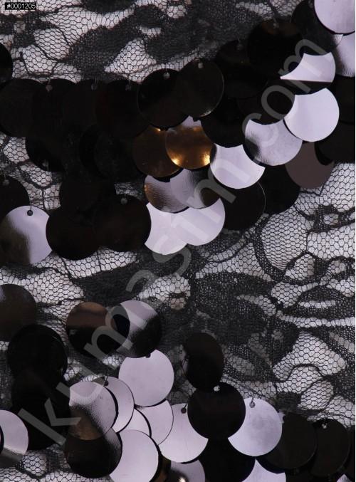 Dantel Üzeri Büyük Payetli Siyah Kumaş - K9476