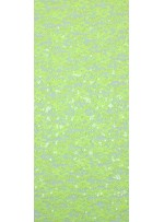 Dantel Üzeri Dalge Desenli Payetli Kumaş - Sarı c1 - K9477