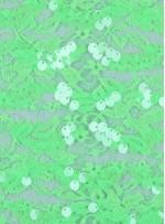 Dantel Üzeri Dalge Desenli Payetli Kumaş - Fıstık Yeşili c2 - K9477