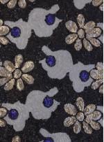 Çiçek Desenli Yazlık Gold Payetli Kumaş - K9482