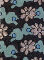 Çiçek Desenli Yazlık Mint Payetli Kumaş - K9482