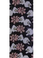 Çiçek Desenli Yazlık Pudra Payetli Kumaş - K9482