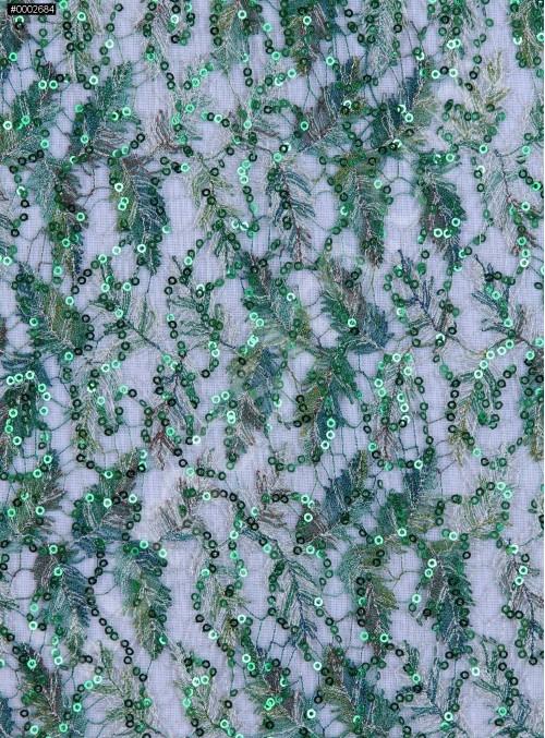 File Üzeri Yaprak Desenli Payetli Abiyelik Gökkuşağı Yeşil Kumaş - K9493