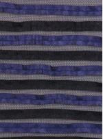 Tül Üzeri Şeritli Çift Renkli Deri Kumaş - K9499