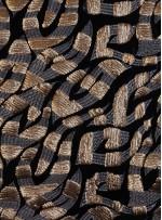 Kadife Üzeri Nakışlı ve Gold Payetli Kumaş - K9506