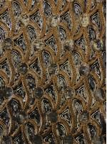 Kadife Üzeri Şal Desenli Gold Payetli Kumaş - K9507