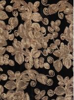 Kadife Üzeri Çiçek Desenli Gold Payetli Abiyelik Kumaş - K9509