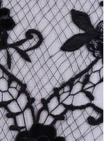File Üzeri Çiçek Desenli Siyah Payetli Kumaş - K9516