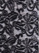 File Üzeri Karışık Desenli Yünlü Siyah Kumaş - K9518