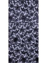 File Üzeri Çiçek Desenli Siyah Payetli Abiyelik Kumaş - K9520