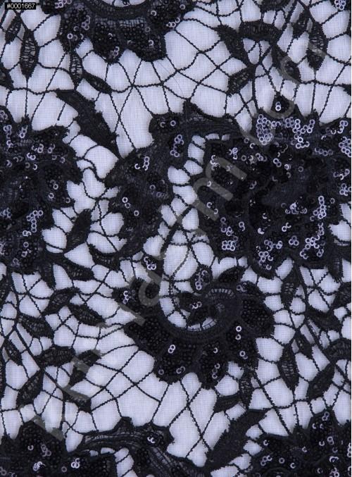 File Üzeri Çiçek Desenli Siyah Payetli Kumaş - K9521