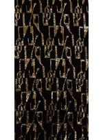 Kadife Üzeri Antik Çağ Desenli Gold Payetli Kumaş - K9522