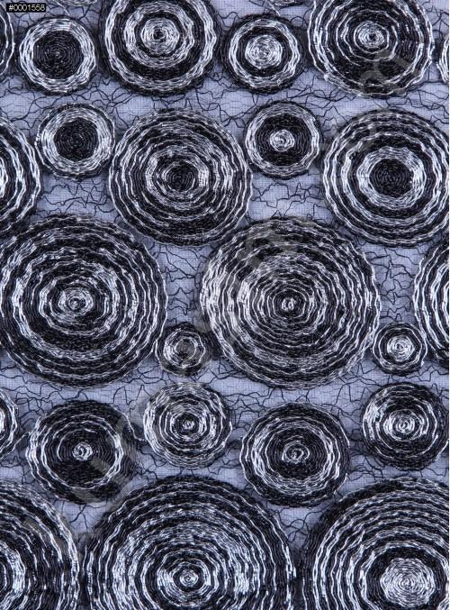 Daire Desenli File Üstü Simli Kordoneli Siyah Gümüş Kumaş - K9534