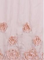 Saten Üzeri Çiçek Desenli Lazer Kesim Pudra Kumaş - K9538